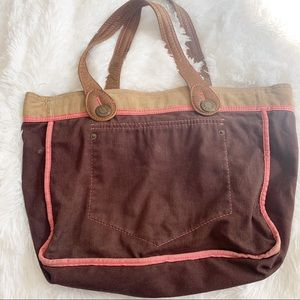 Gap Tote Bag -brown and Corduroy with pink accents